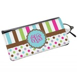 Stripes & Dots Genuine Leather Eyeglass Case (Personalized)