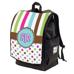 Stripes & Dots Backpack w/ Front Flap  (Personalized)