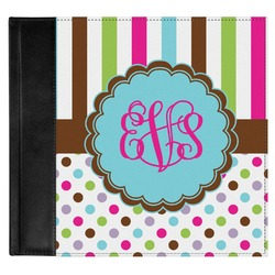 Stripes & Dots Genuine Leather Baby Memory Book (Personalized)