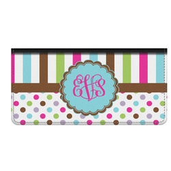 Stripes & Dots Genuine Leather Checkbook Cover (Personalized)