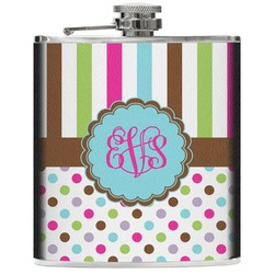 Stripes & Dots Genuine Leather Flask (Personalized)