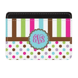 Stripes & Dots Genuine Leather Front Pocket Wallet (Personalized)