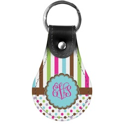 Stripes & Dots Genuine Leather  Keychain (Personalized)
