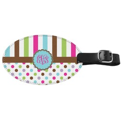Stripes & Dots Genuine Leather Luggage Tag (Personalized)