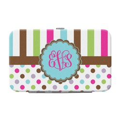 Stripes & Dots Genuine Leather Small Framed Wallet (Personalized)
