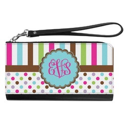 Stripes & Dots Genuine Leather Smartphone Wrist Wallet (Personalized)