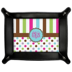 Stripes & Dots Genuine Leather Valet Tray (Personalized)