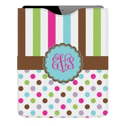 Stripes & Dots Genuine Leather iPad Sleeve (Personalized)