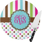 Stripes & Dots Round Glass Cutting Board (Personalized)