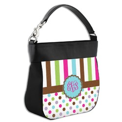 Stripes & Dots Hobo Purse w/ Genuine Leather Trim w/ Monogram
