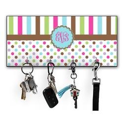 Stripes & Dots Key Hanger w/ 4 Hooks (Personalized)