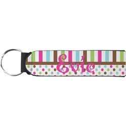 Stripes & Dots Neoprene Keychain Fob (Personalized)