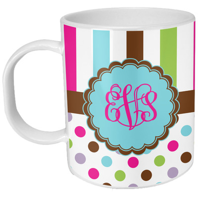 Stripes & Dots Plastic Kids Mug (Personalized)