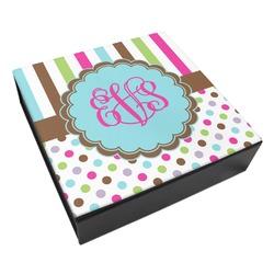 Stripes & Dots Leatherette Keepsake Box - 3 Sizes (Personalized)