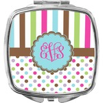 Stripes & Dots Compact Makeup Mirror (Personalized)