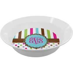Stripes & Dots Melamine Bowl (Personalized)