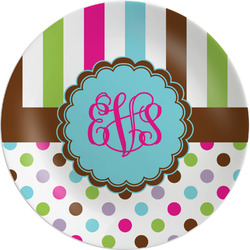 """Stripes & Dots Melamine Plate - 8"""" (Personalized)"""