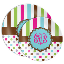 Stripes & Dots Melamine Plate (Personalized)