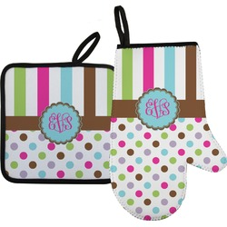 Stripes & Dots Oven Mitt & Pot Holder (Personalized)