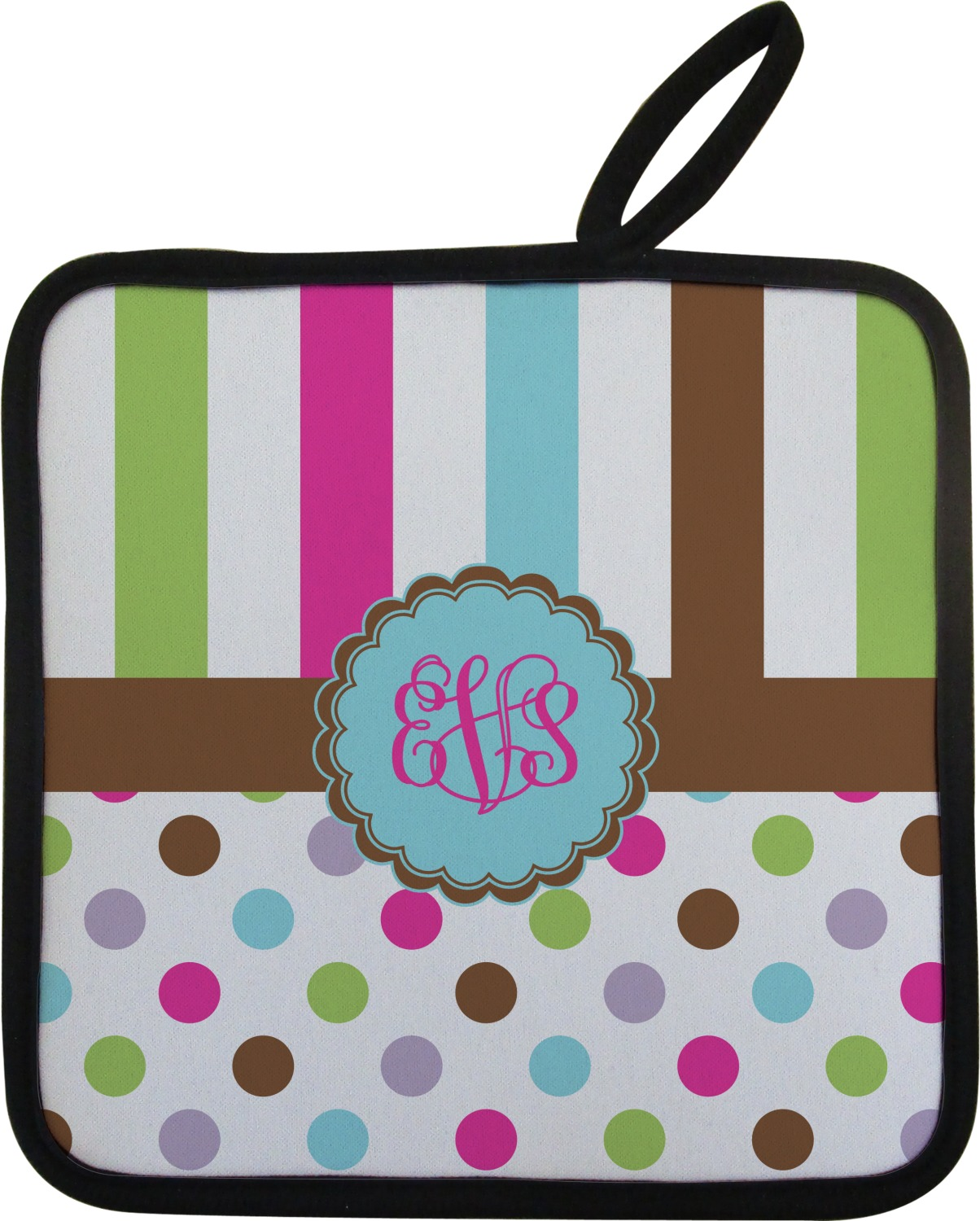 Geometric Circles on Black Personalization Available Two Pot Holders with Loops