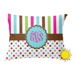 Stripes & Dots Outdoor Throw Pillow (Rectangular) (Personalized)