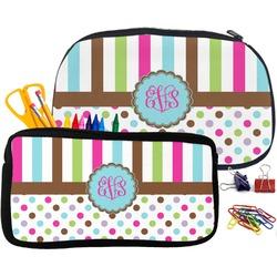 Stripes & Dots Pencil / School Supplies Bag (Personalized)