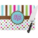 Stripes & Dots Rectangular Glass Cutting Board (Personalized)