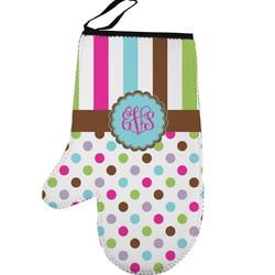 Stripes & Dots Left Oven Mitt (Personalized)