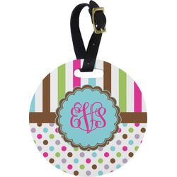Stripes & Dots Round Luggage Tag (Personalized)