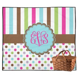 Stripes & Dots Outdoor Picnic Blanket (Personalized)