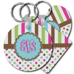 Stripes & Dots Plastic Keychains (Personalized)