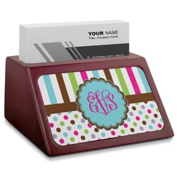Stripes & Dots Red Mahogany Business Card Holder (Personalized)