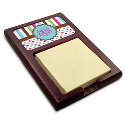 Stripes & Dots Red Mahogany Sticky Note Holder (Personalized)