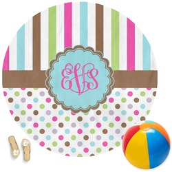 Stripes & Dots Round Beach Towel (Personalized)