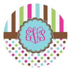 Stripes & Dots Round Decal - Medium (Personalized)