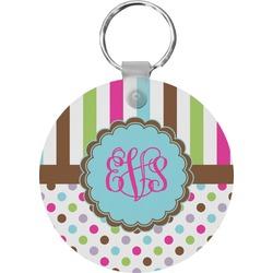Stripes & Dots Round Keychain (Personalized)