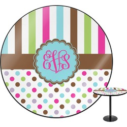 "Stripes & Dots Round Table - 30"" (Personalized)"