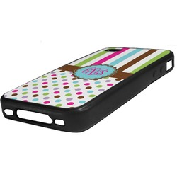 Stripes & Dots Rubber iPhone Case 4/4S (Personalized)