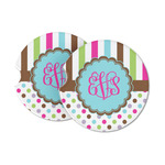 Stripes & Dots Sandstone Car Coasters (Personalized)