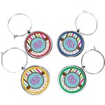 Stripes & Dots Wine Charms (Set of 4) (Personalized)
