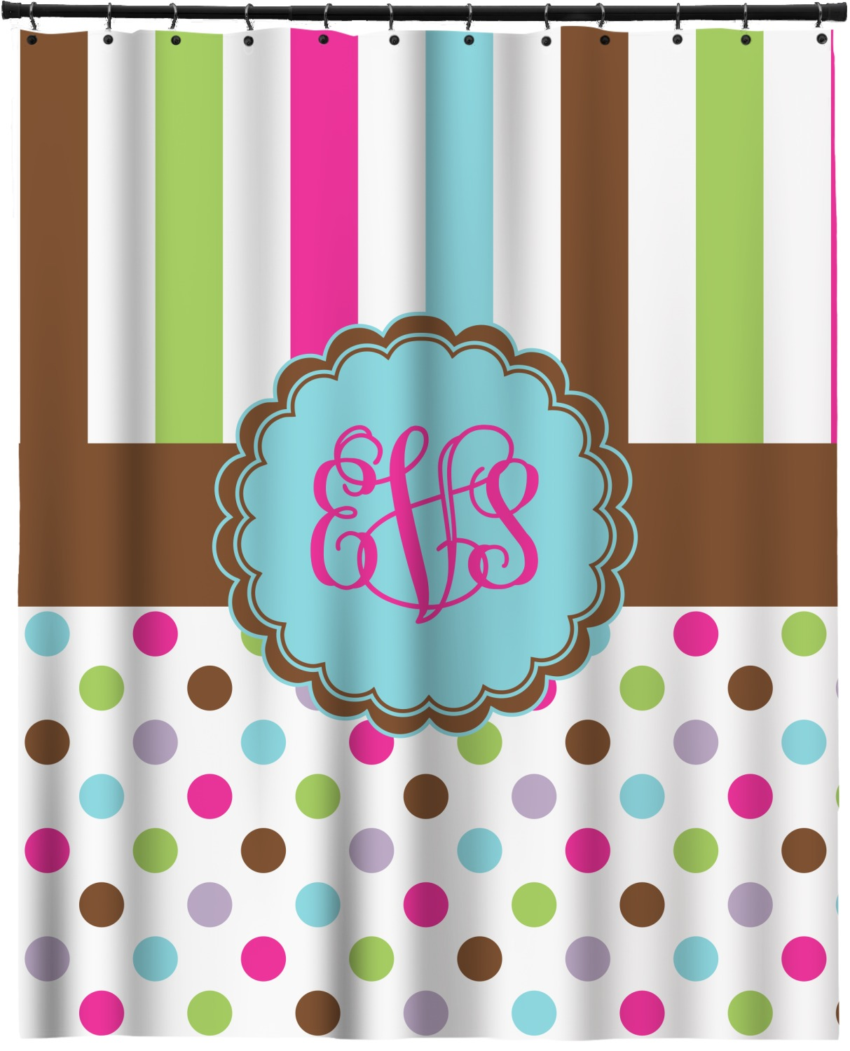 Stripes Amp Dots Extra Long Shower Curtain