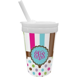 Stripes & Dots Sippy Cup with Straw (Personalized)