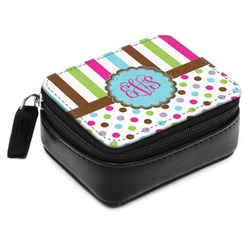 Stripes & Dots Small Leatherette Travel Pill Case (Personalized)