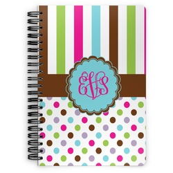 Stripes & Dots Spiral Bound Notebook (Personalized)