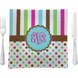 """Stripes & Dots Glass Square Lunch / Dinner Plate 9.5"""" - Single or Set of 4 (Personalized)"""