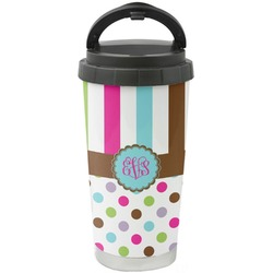 Stripes & Dots Stainless Steel Travel Mug (Personalized)