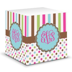 Stripes & Dots Sticky Note Cube (Personalized)