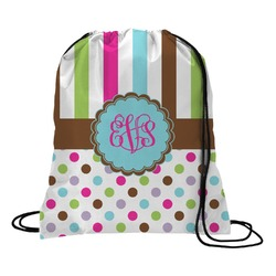 Stripes & Dots Drawstring Backpack (Personalized)