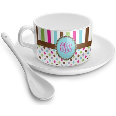 Stripes & Dots Tea Cups (Personalized)
