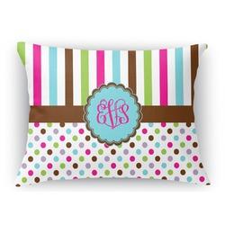 "Stripes & Dots Rectangular Throw Pillow Case - 12""x18"" (Personalized)"